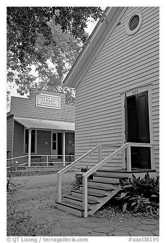 Buildings in Old Alabama Town. Montgomery, Alabama, USA (black and white)