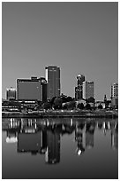 Downtown buidings and Arkansas River at twilight. Little Rock, Arkansas, USA ( black and white)