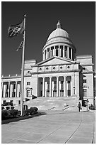 Arkansas Capitol with woman carrying briefcase. Little Rock, Arkansas, USA ( black and white)