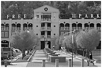 Parking structure and fall colors. Hot Springs, Arkansas, USA ( black and white)