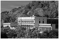 Historic buildings and trees in fall foliage. Hot Springs, Arkansas, USA ( black and white)
