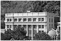 Historic buildings at the base of hills. Hot Springs, Arkansas, USA ( black and white)