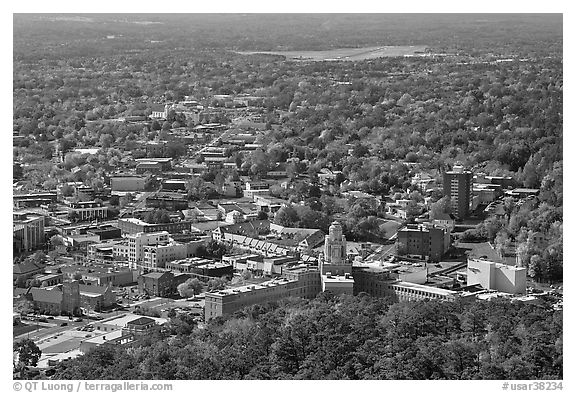 City in fall from above. Hot Springs, Arkansas, USA (black and white)