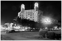 Historic hotel by night. Hot Springs, Arkansas, USA ( black and white)