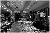 Jewelry and gallery during the gallery night. Hot Springs, Arkansas, USA (black and white)