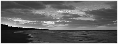 Seashore at sunrise, Sanibel Island. Florida, USA (Panoramic black and white)