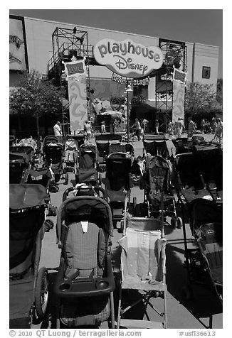 Stroller parking. Orlando, Florida, USA (black and white)