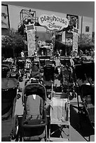 Stroller parking. Orlando, Florida, USA ( black and white)