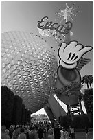 Spaceship earth and Epcot sign. Orlando, Florida, USA ( black and white)
