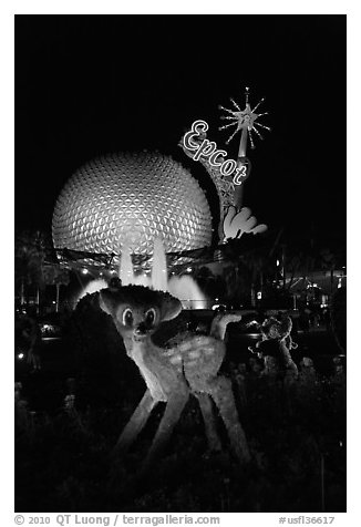 Bambi and Epcot sphere by night, Walt Disney World. Orlando, Florida, USA (black and white)