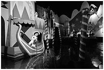 Indoor boat ride, Magic Kingdom, Walt Disney World. Orlando, Florida, USA ( black and white)