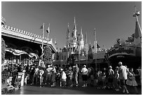 People lining up, Magic Kingdom, Walt Disney World. Orlando, Florida, USA ( black and white)