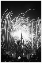 Fireworks over fairy-tale fortress. Orlando, Florida, USA (black and white)