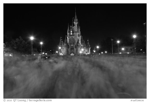 Blurry crowds and Cinderella Castle, Walt Disney World. Orlando, Florida, USA (black and white)