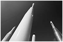 Space rockets, NASA. Cape Canaveral, Florida, USA ( black and white)
