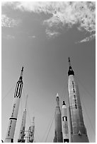 NASA rockets, Kennedy Space Centre. Cape Canaveral, Florida, USA ( black and white)