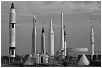 Rocket garden, John F Kennedy Space Center. Cape Canaveral, Florida, USA ( black and white)