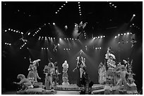 Colorful cast of characters, Circus show, Walt Disney World. Orlando, Florida, USA ( black and white)