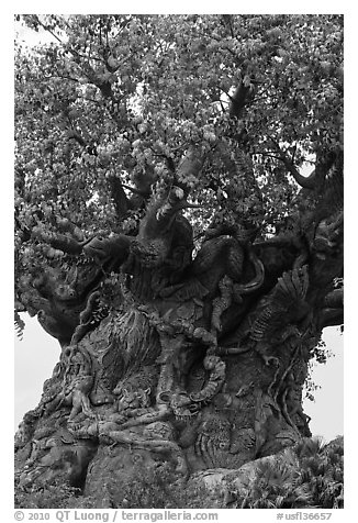 Sculpted tree of life, Animal Kingdom Theme Park, Walt Disney World. Orlando, Florida, USA (black and white)