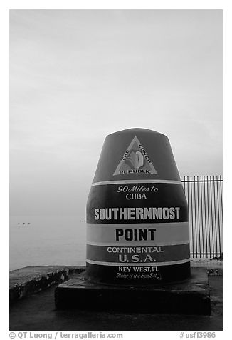 Southermost point in continental US. Key West, Florida, USA (black and white)
