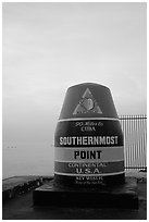 Southermost point in continental US. Key West, Florida, USA ( black and white)