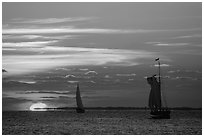 Sailboats and sun, sunset. Key West, Florida, USA (black and white)