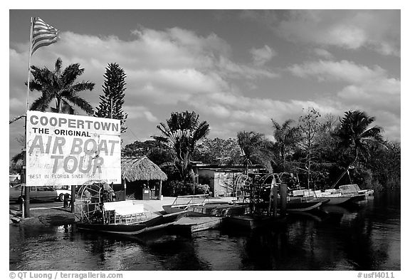 Airboats. Florida, USA (black and white)
