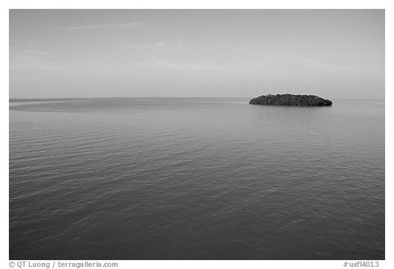 Small island in Florida Bay. The Keys, Florida, USA (black and white)