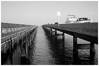 Abandonned and current Seven-mile bridges. The Keys, Florida, USA ( black and white)