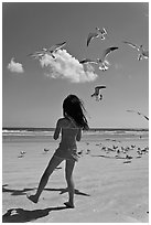 Girl playing with seabirds, Jetty Park beach. Cape Canaveral, Florida, USA ( black and white)