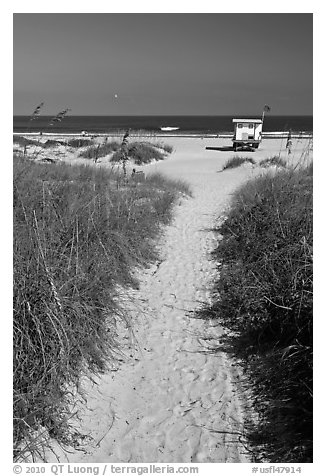 Sandy path leading to beach, Jetty Park. Cape Canaveral, Florida, USA
