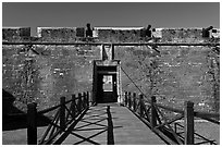 Entrance, Castillo de San Marcos Spanish Fort. St Augustine, Florida, USA (black and white)