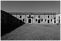 Interior courtyard, Castillo de San Marcos National Monument. St Augustine, Florida, USA ( black and white)