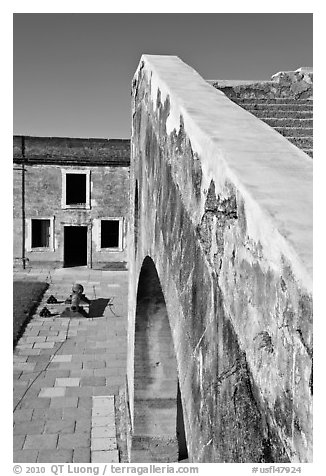 Interior wall, Castillo de San Marcos National Monument. St Augustine, Florida, USA (black and white)