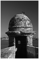 Fortified Turret, pigeons, and Matanzas Bay, Castillo de San Marcos National Monument. St Augustine, Florida, USA ( black and white)