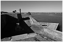 Fort Castillo de San Marcos overlooking Matanzas Bay,. St Augustine, Florida, USA ( black and white)