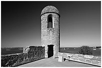 Bell Tower, Castillo de San Marcos National Monument. St Augustine, Florida, USA ( black and white)