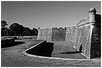 Coquina walls of historic fort, Castillo de San Marcos National Monument. St Augustine, Florida, USA ( black and white)