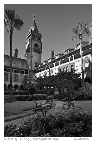 Ponce de Leon Hall, Flagler College. St Augustine, Florida, USA (black and white)