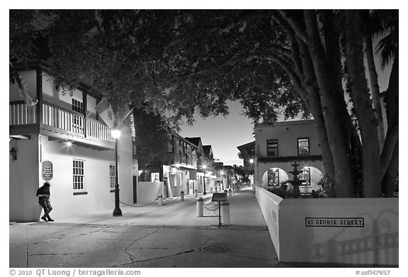historic Spanish Colonial Quarter by night. St Augustine, Florida, USA (black and white)