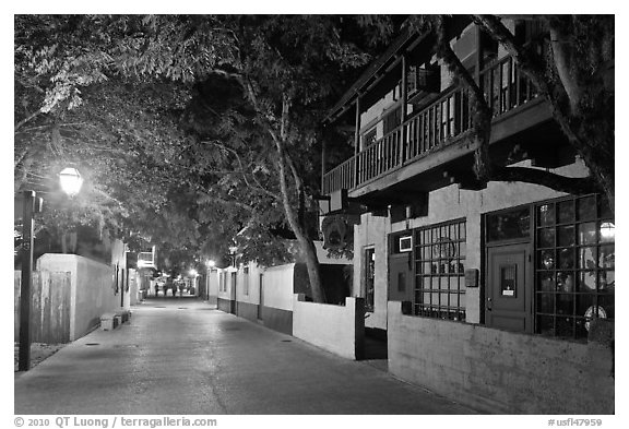 St George Street by night. St Augustine, Florida, USA (black and white)