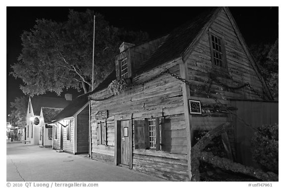 Oldest school house and street by night. St Augustine, Florida, USA (black and white)