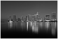 Downtown skyline at night, Miami. Florida, USA ( black and white)