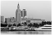 Miami Waterfront and Freedom Tower at dawn. Florida, USA ( black and white)