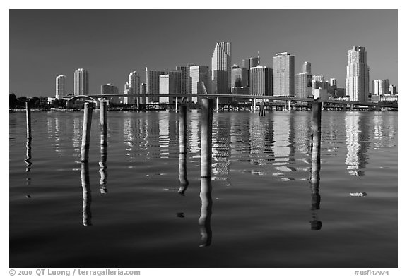 Bridge, pillings, and downtown skyline, Miami. Florida, USA (black and white)