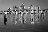 Mc Arthur Causeway bridge and high rise towers, Miami. Florida, USA ( black and white)