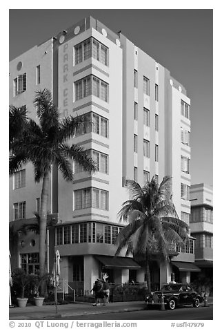 Art Deco Style Hotel, South Beach, Miami Beach. Florida, USA (black and white)