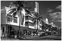 Art Deco District, Miami Beach. Florida, USA ( black and white)