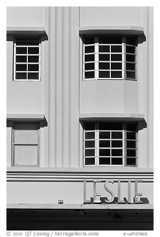 Detail of boxy Art Deco facade, Miami Beach. Florida, USA (black and white)