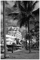 South Beach Art Deco historic district, Miami Beach. Florida, USA ( black and white)